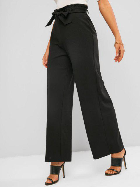 women's ZAFUL Belted Wide Leg Paperbag Pants - BLACK XL Mobile
