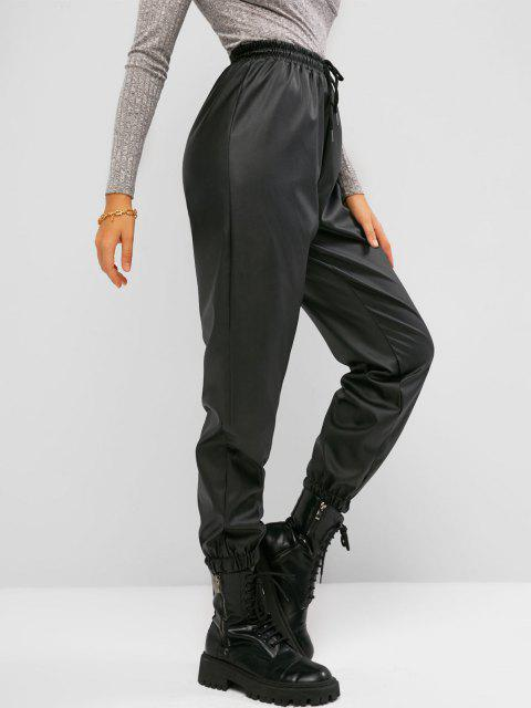 fancy Drawstring Waist Faux Leather Beam Feet Pants - BLACK M Mobile