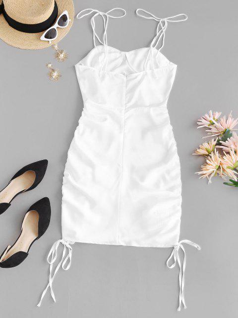 women's Cinched Side Tie Shoulder Bodycon Dress - WHITE L Mobile