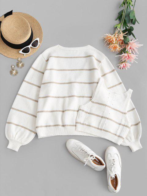 online Button Up Stripes Cardigan and Pointelle Knit Tank Top Set - WHITE ONE SIZE Mobile