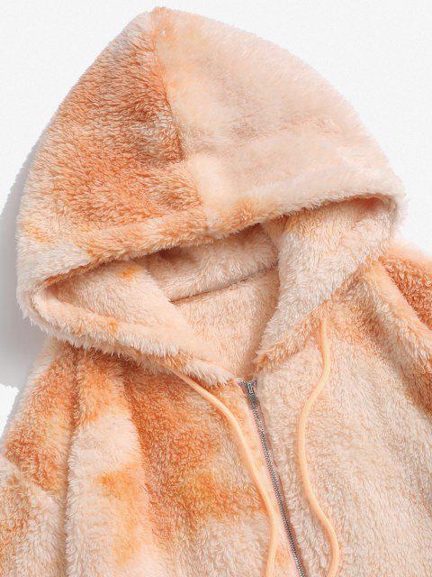 affordable Hooded Zip Up Tie Dye Fluffy Hoodie - MULTI M Mobile