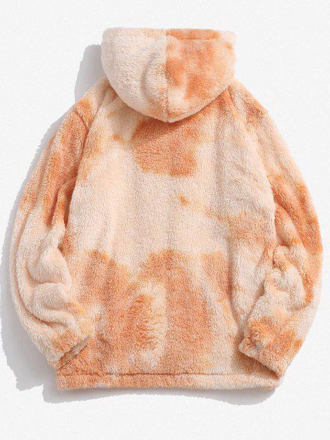 outfits Hooded Zip Up Tie Dye Fluffy Hoodie - MULTI 2XL Mobile