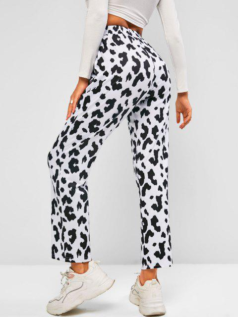 ladies Cow Print Pull On Straight Pants - BLACK L Mobile