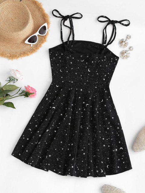 sale Metallic Thread Sparkly Star Moon Tie Shoulder Mini Dress - BLACK S Mobile