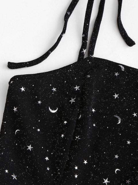 women Metallic Thread Sparkly Star Moon Tie Shoulder Mini Dress - BLACK XL Mobile