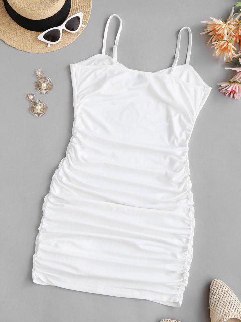 buy Cami Bustier Gathered Side Slinky Dress - WHITE L Mobile