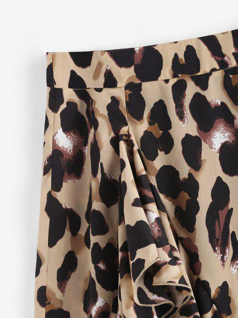 fashion Leopard Ruffle Asymmetrical Midi Skirt - COFFEE S Mobile
