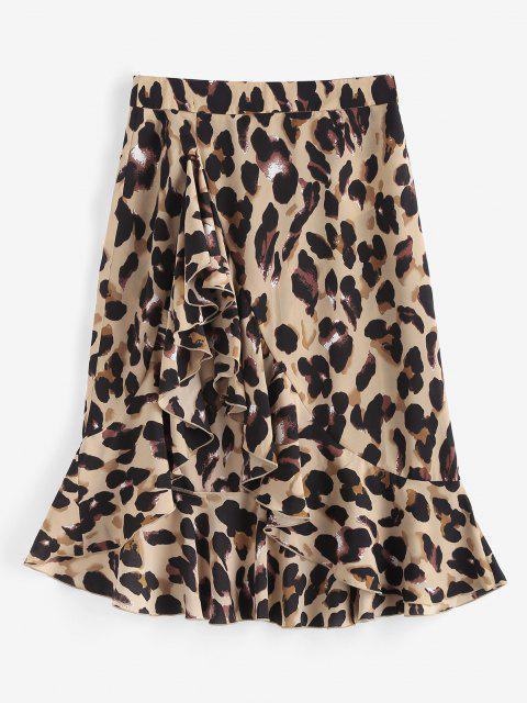 Leopard Ruffle Asymmetrical Midi Skirt - قهوة M Mobile