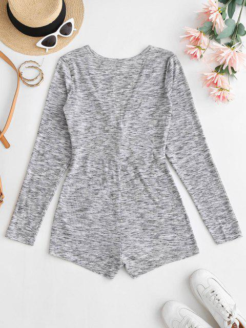 unique Button Front Ribbed Space Dye Romper - LIGHT GRAY S Mobile