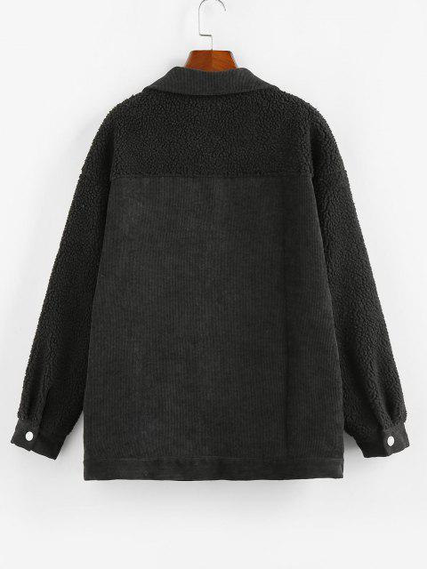 women's ZAFUL Corduroy Faux Shearling Flap Pocket Jacket - BLACK S Mobile