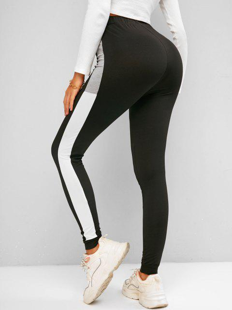 outfits ZAFUL Active Beam Feet Colorblock Leggings - BLACK M Mobile