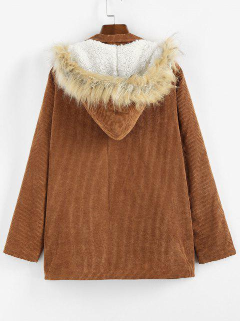 ZAFUL Corduroy Fluffy Lined Hooded Zip Up Coat - بنى S Mobile
