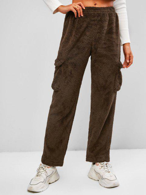 womens Flap Pockets Borg Teddy Pants - DEEP BROWN S Mobile