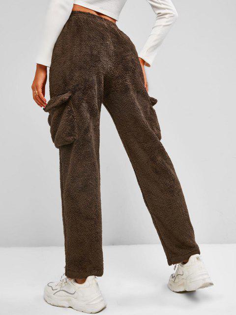 hot Flap Pockets Borg Teddy Pants - DEEP BROWN M Mobile