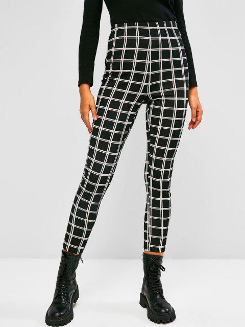 fashion ZAFUL Grid High Rise Leggings - BLACK XL Mobile