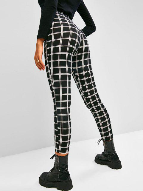 hot ZAFUL Grid High Rise Leggings - BLACK L Mobile