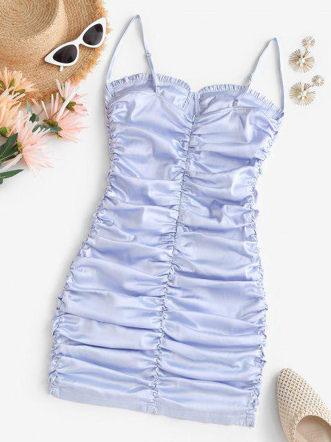 fashion Satin Ruched Ruffled Bodycon Dress - LIGHT BLUE M Mobile