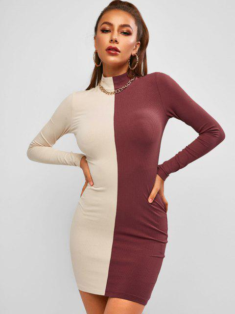 fashion ZAFUL Mock Neck Slinky Rib-knit Bicolor Bodycon Dress - MULTI XL Mobile