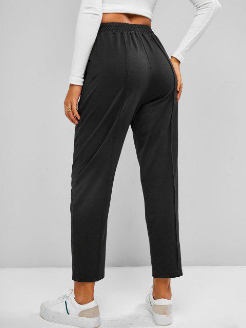 online ZAFUL High Waist Ninth Sweatpants - BLACK S Mobile