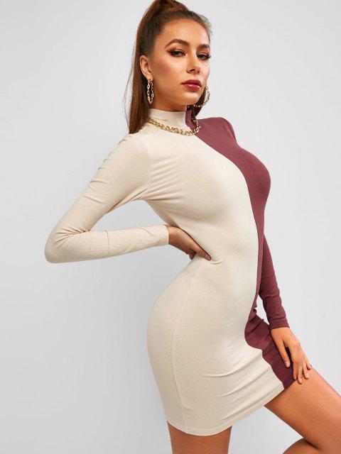 chic ZAFUL Mock Neck Slinky Rib-knit Bicolor Bodycon Dress - MULTI L Mobile