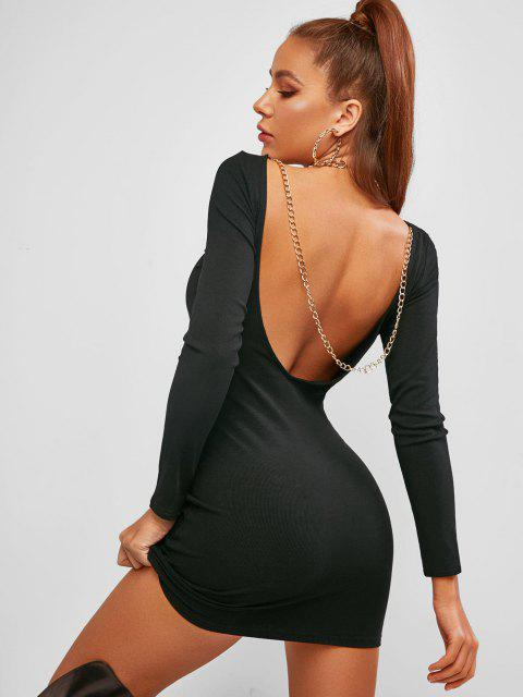 chic ZAFUL Chains Low Back Ribbed Club Bodycon Dress - BLACK M Mobile