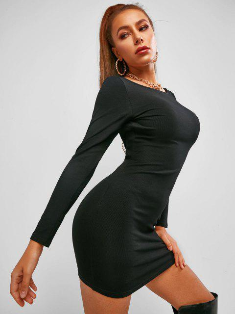 sale ZAFUL Chains Low Back Ribbed Club Bodycon Dress - BLACK L Mobile