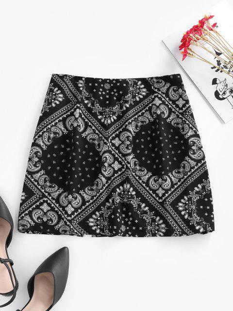outfit ZAFUL Scarf Print Slit Mini Skirt - BLACK L Mobile