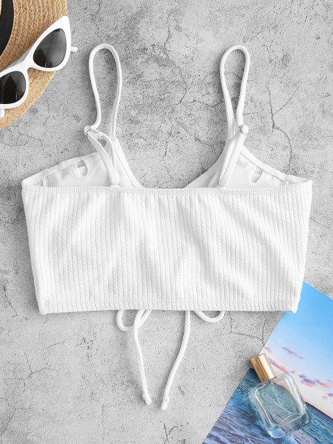 ZAFUL Textured Ribbed Cinched Ruched Bikini Top - أبيض S Mobile