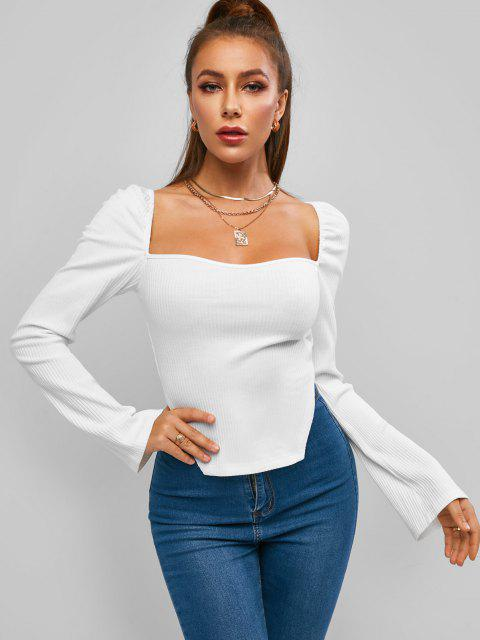 affordable ZAFUL Ribbed Side Slit Long Sleeve Baby Tee - WHITE M Mobile