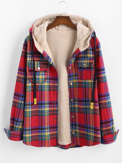Plaid Pattern Pocket Plush Hooded Shirt Jacket - أحمر 2XL Mobile