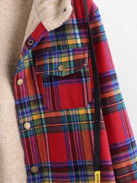 hot Plaid Pattern Pocket Plush Hooded Shirt Jacket - RED 2XL Mobile