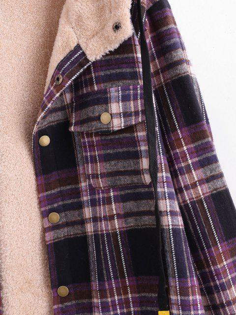 Veste à Capuche à Carreaux avec Poche en Peluche - Noir 2XL Mobile