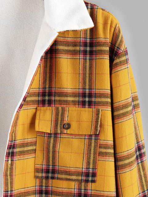 women ZAFUL Plaid Print Double Pockets Fleece Shirt - YELLOW S Mobile