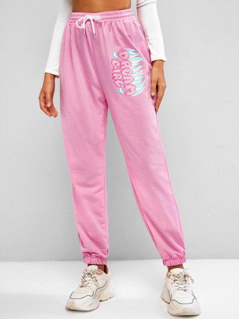 chic Flame DREAM GIRL Graphic Jogger Sweatpants - LIGHT PINK L Mobile