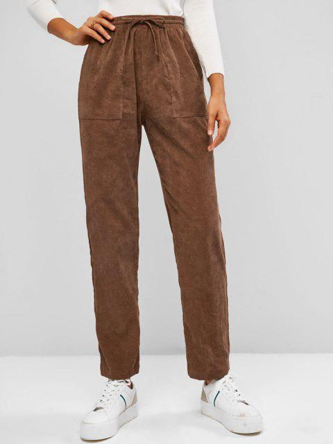 womens ZAFUL Drawstring Corduroy Patch Pocket Straight Pants - COFFEE S Mobile