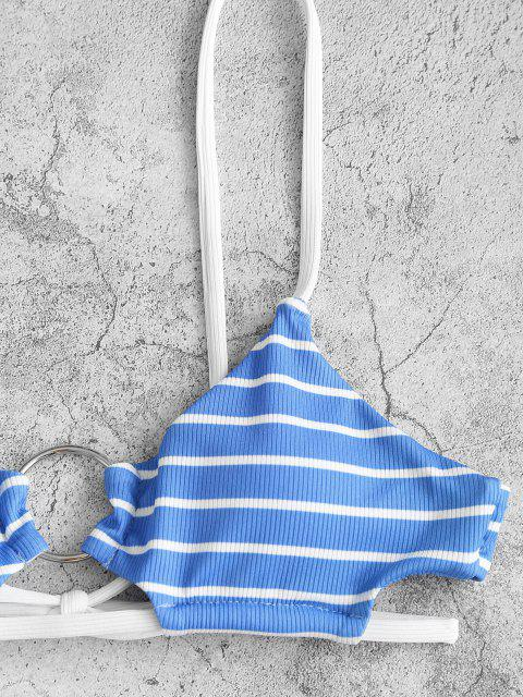 new ZAFUL Skimpy Striped Ribbed O-ring Tie Side Bikini Swimwear - LIGHT BLUE S Mobile