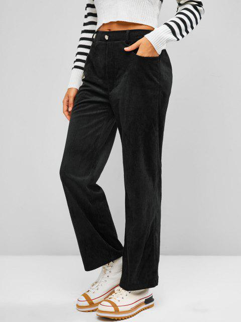 chic ZAFUL Corduroy Straight Fit Pants - BLACK S Mobile