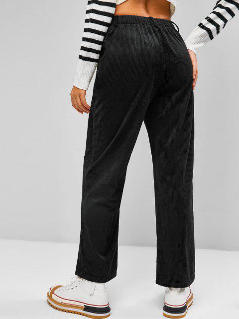 unique ZAFUL Corduroy Straight Fit Pants - BLACK M Mobile
