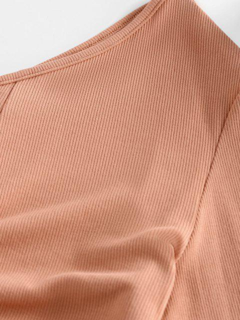 chic ZAFUL Ribbed Ruched Tie One Shoulder Baby Tee - BROWN SUGAR S Mobile