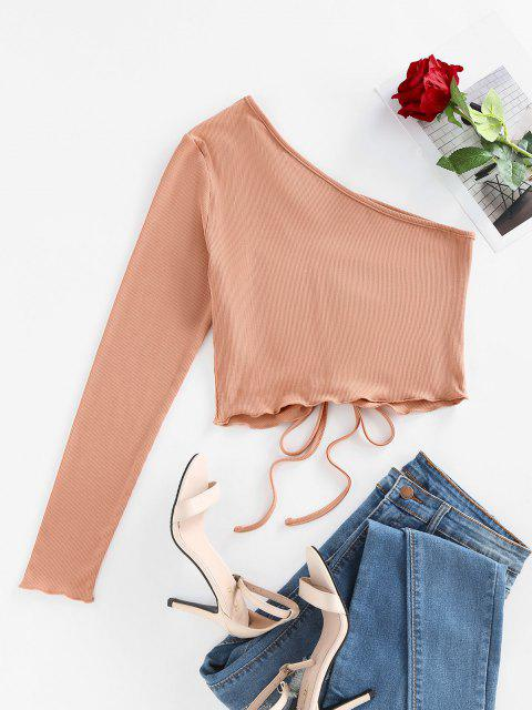 trendy ZAFUL Ribbed Ruched Tie One Shoulder Baby Tee - BROWN SUGAR M Mobile