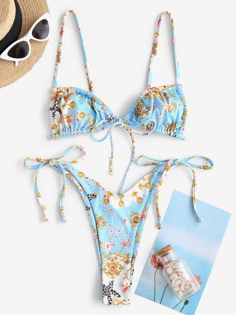women's ZAFUL Baroque Flower Leopard Starfish Ribbed Cheeky String Bikini Swimwear - LIGHT BLUE S Mobile