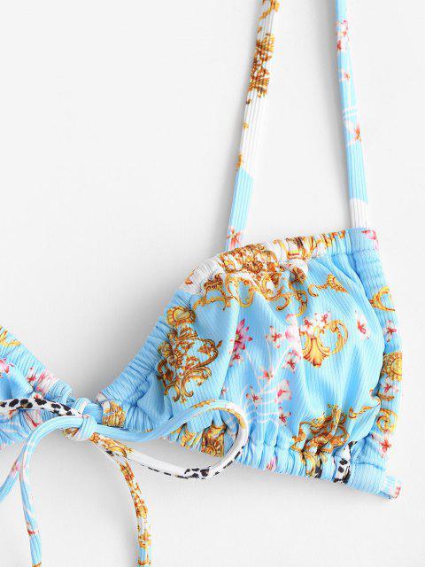 ZAFUL Costume da Bagno Bikini a Incrocio Floreale con Fiocco - Azzurro L Mobile