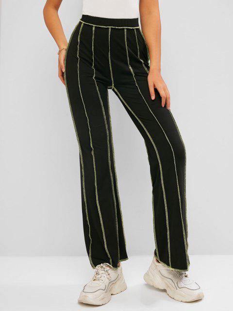 women ZAFUL Topstitching High Waisted Bootcut Pants - BLACK M Mobile