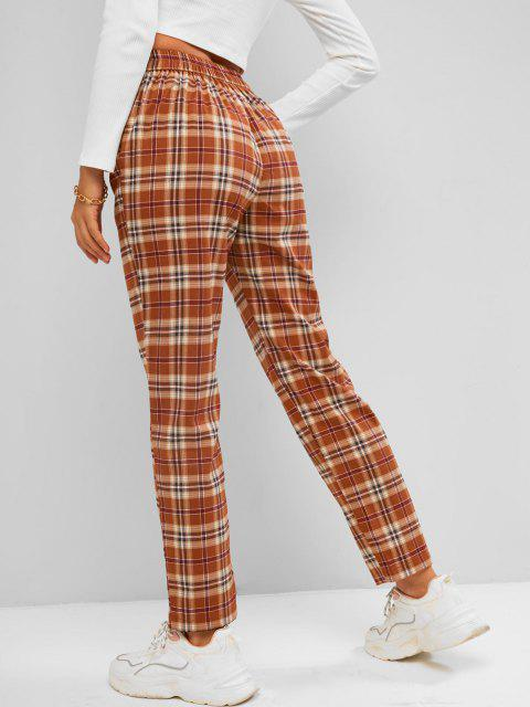 ladies ZAFUL Plaid Straight Pants - COFFEE L Mobile