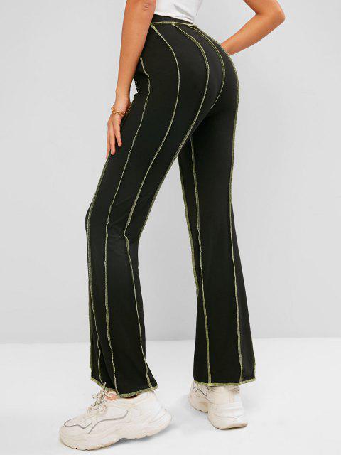 fashion ZAFUL Topstitching High Waisted Bootcut Pants - BLACK XL Mobile
