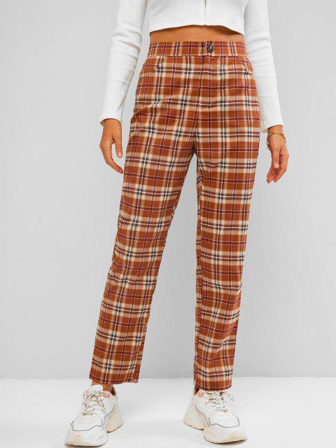 outfits ZAFUL Plaid Straight Pants - COFFEE S Mobile