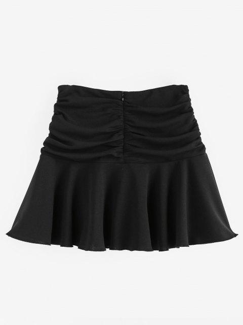 lady ZAFUL Ruched Mini Flared Skirt - BLACK M Mobile