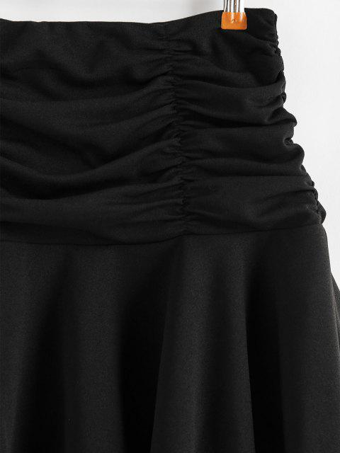 outfit ZAFUL Ruched Mini Flared Skirt - BLACK XL Mobile
