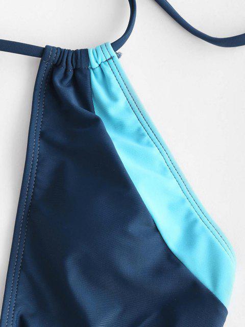ZAFUL Maillot de Bain Découpé en Blocs de Couleurs Anneau en O Une-Pièce - Bleu profond L Mobile