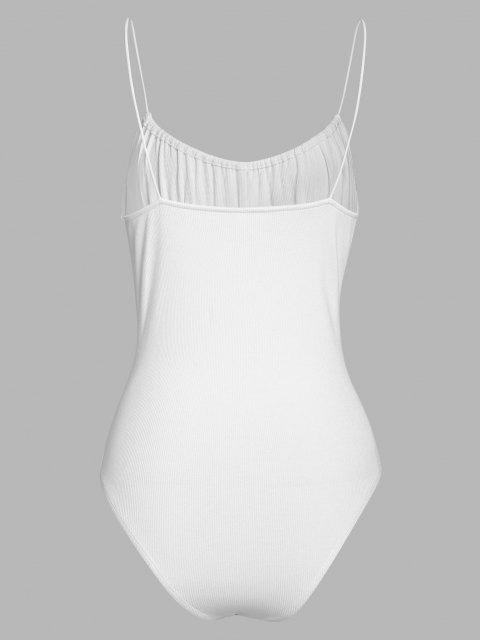 shops ZAFUL Ribbed Bowknot Ruched Bust Backless Bodysuit - WHITE M Mobile
